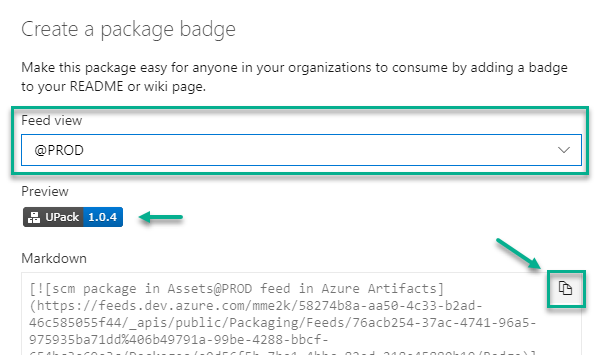 Create Package Badge per Artifact Feed View